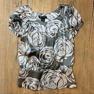 INC ✨100% Silk✨ Grey and White Blouse